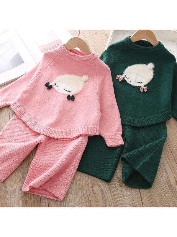 【12M-4Y】Girl Sweet Cartoon Pattern Woolen Top And Pants Set