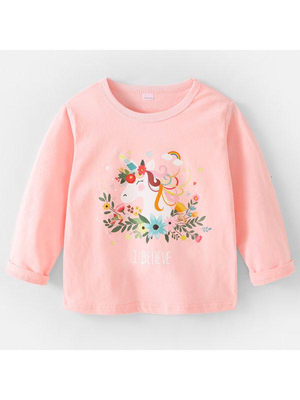 【2Y-9Y】Girls Sweet Unicorn Pattern Long Sleeve T-shirt