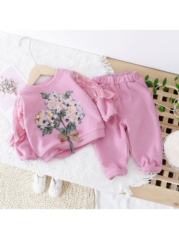 【12M-5Y】Girls Floral Embroidery Lace Splicing Sweatshirt And Pants Set