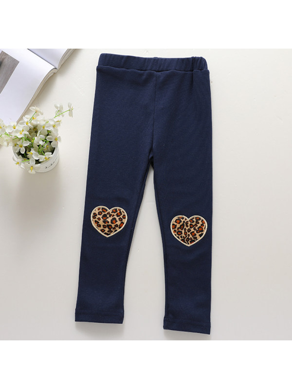 【18M-7Y】Girls Sweet Heart Embroidered Leggings