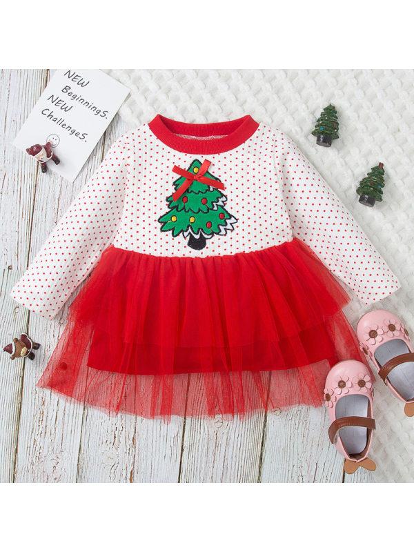 【12M-5Y】Girls Christmas Tree Print Layered Tulle Panel Dress