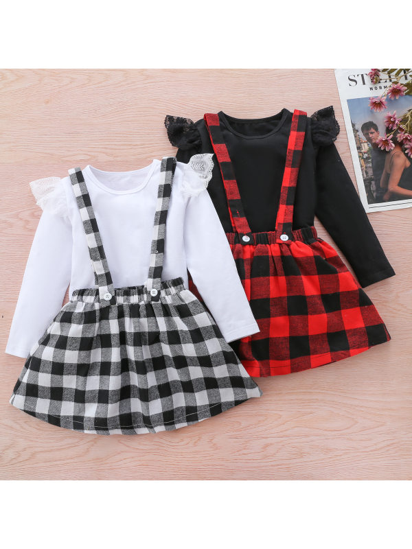 【18M-7Y】Girls Sweet Round Neck Long Sleeve T-Shirt And Plaid Strap Skirt Set