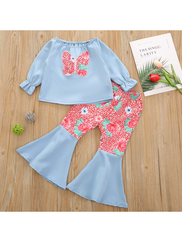 【18M-7Y】Girls Sweet Butterfly Embroidered T-Shirt And Floral Print Flared Pants Set