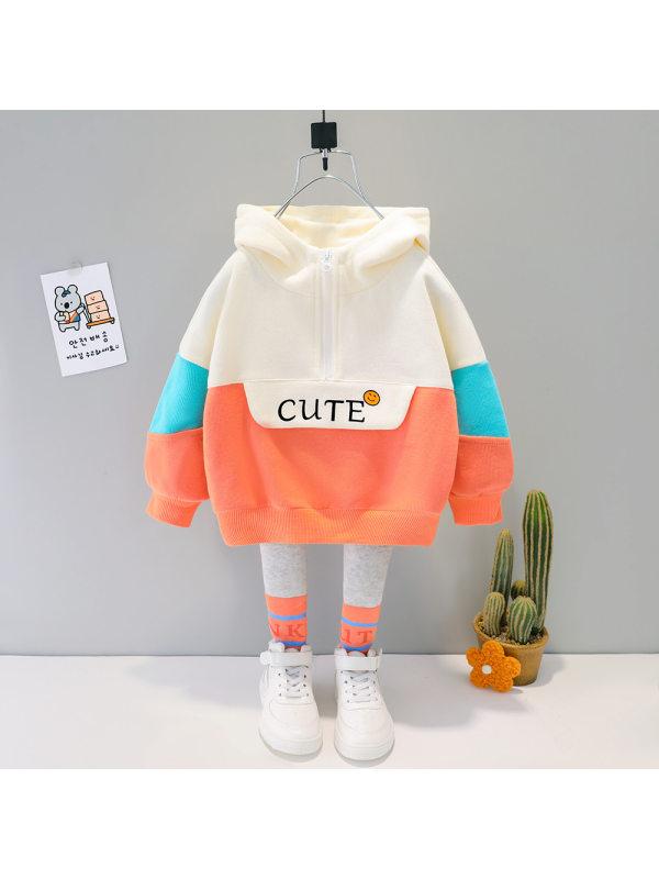 【9M-4Y】Girls Letter Prints Multicolor Hooded Sweatshirt And Pants Set