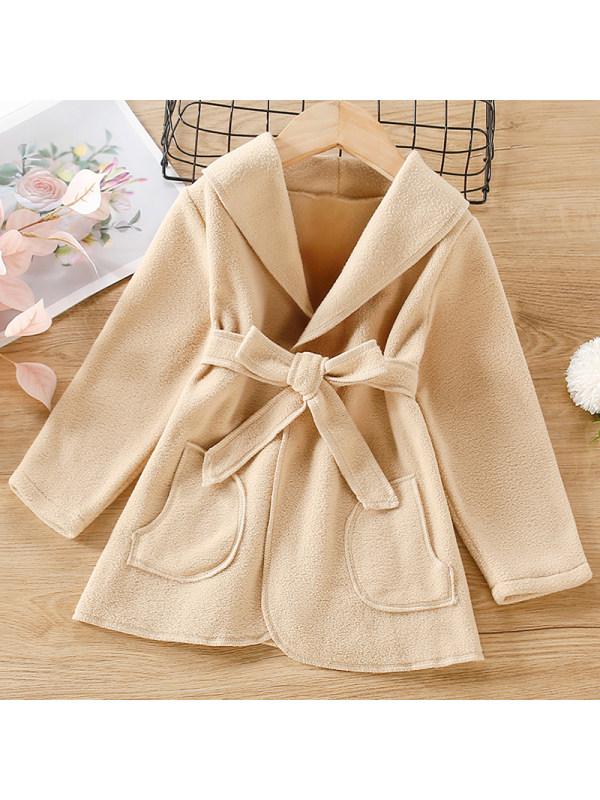 【18M-7Y】Girls Sweet Khaki Polar Fleece Coat