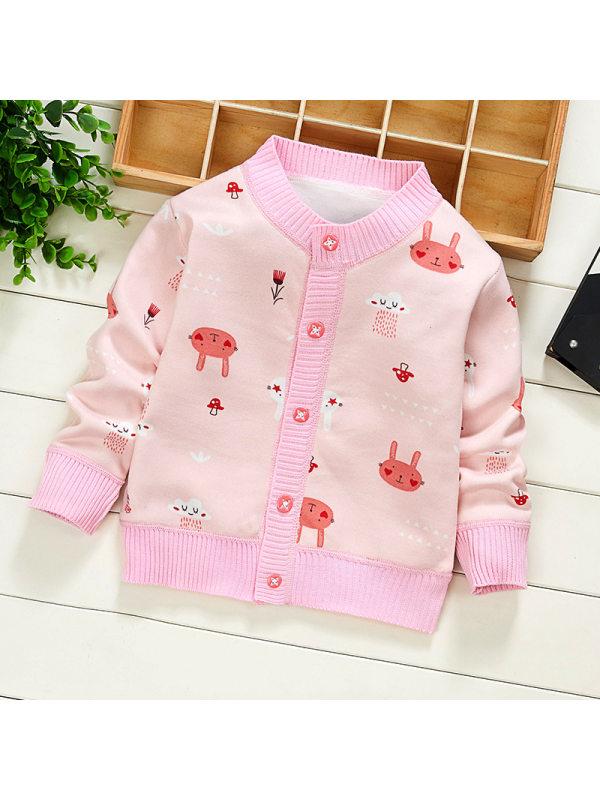 【6M-3M】Baby Cute Cartoon Print Long Sleeve Jacket