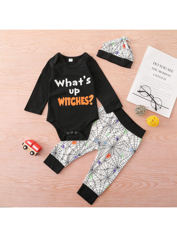 【6M-3Y】Baby Boy 3-piece Letter Print Long Sleeve Romper And Pants Set With Hat