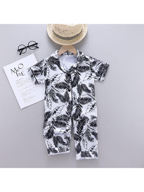【18M-7Y】Boys Tropical Leaf Print Short Sleeve Home Wear Set