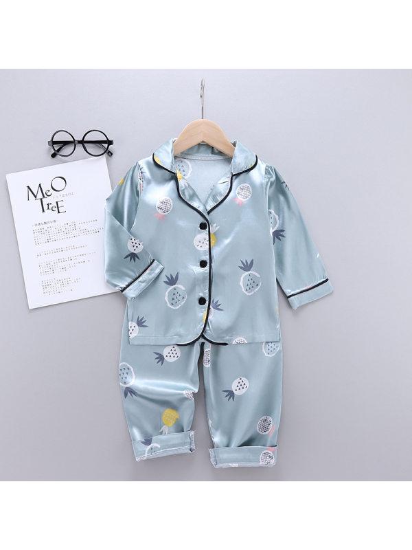 【18M-7Y】Boys Pineapple Print Long Sleeve Home Wear Set