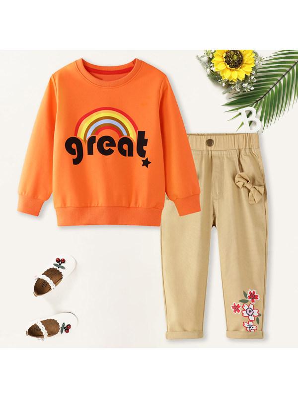 【18M-7Y】Girls Sweet Rainbow Pattern Sweatshirt Pants Set