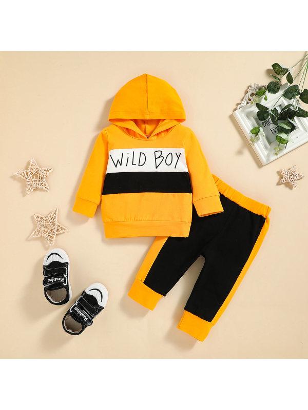 【3M-24M】Boys Stitching Letter Print Hooded Sweatshirt And Pants Set