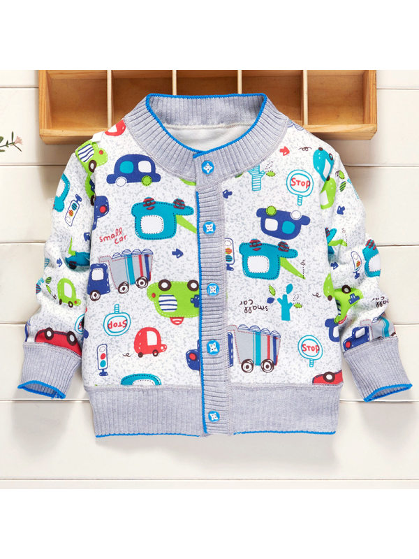 【6M-3Y】Baby Boy Cute Cartoon Print Long Sleeve Jacket