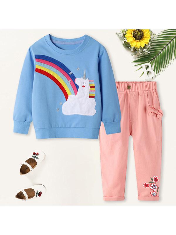 【18M-7Y】Girls Sweet Rainbow Unicorn Pattern Sweatshirt Pants Set