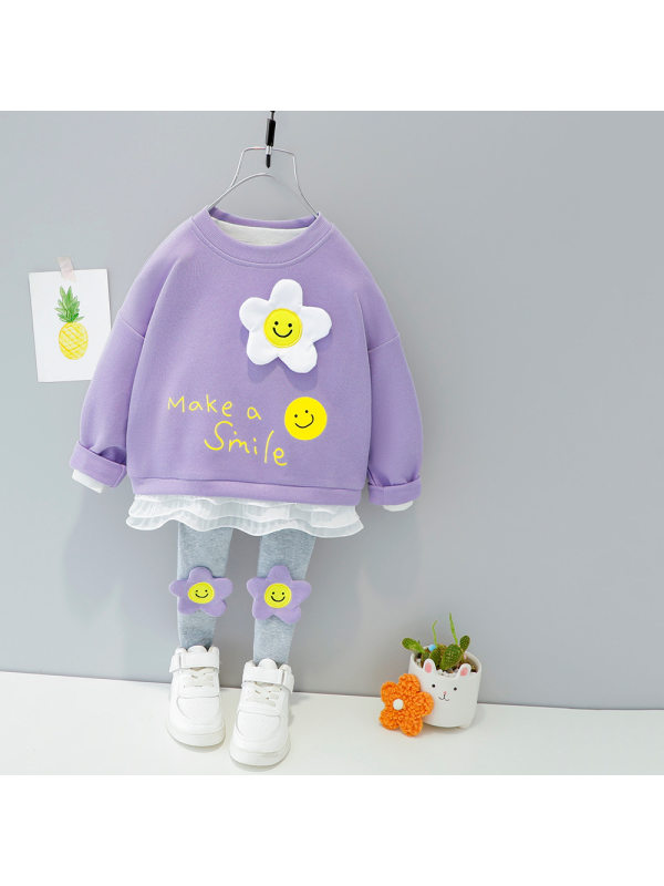 【9M-4Y】Girls Floral Letter Prints Round Neck Sweatshirt And Pants Set