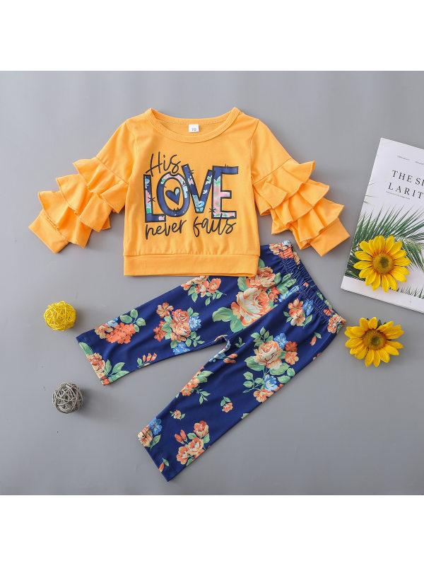 【6M-3Y】Baby Letter Print Ruffled Long Sleeve Sweatshirt And Floral Print Pants Set