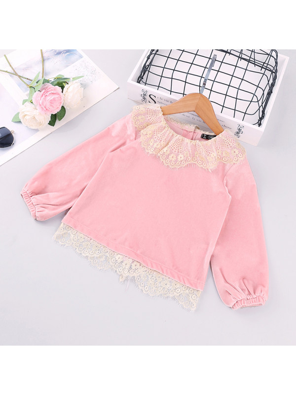 【18M-7Y】Girls Lace Stitching Long-sleeved Top