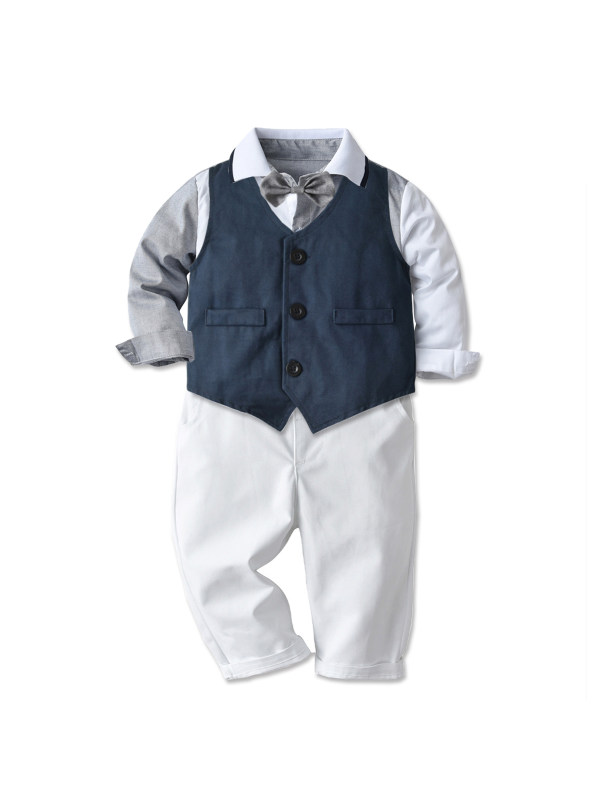 【12M-7Y】Boys Waistcoat Long-sleeved Shirt And Pants Three-piece Suit