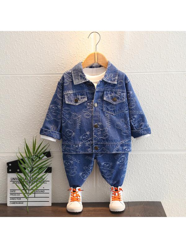 【12M-5Y】Boys Cartoon Print Long-sleeved Denim Two-piece Suit