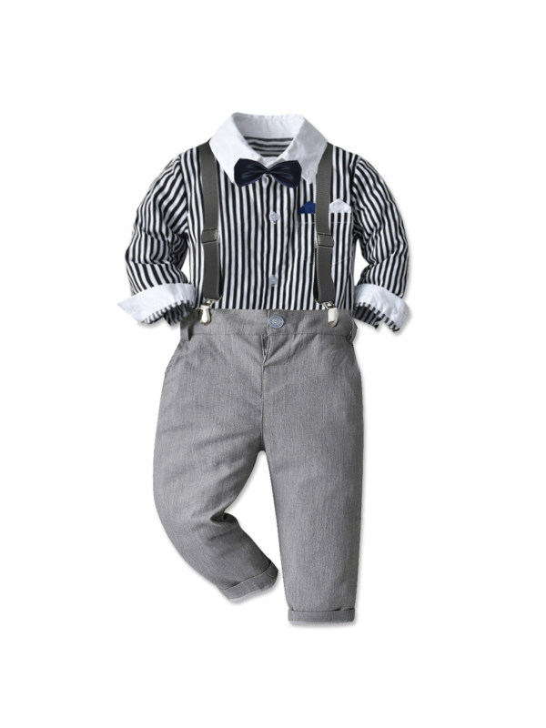 【12M-9Y】Boys Striped Long-sleeved Shirt And Pants Two-piece Suit
