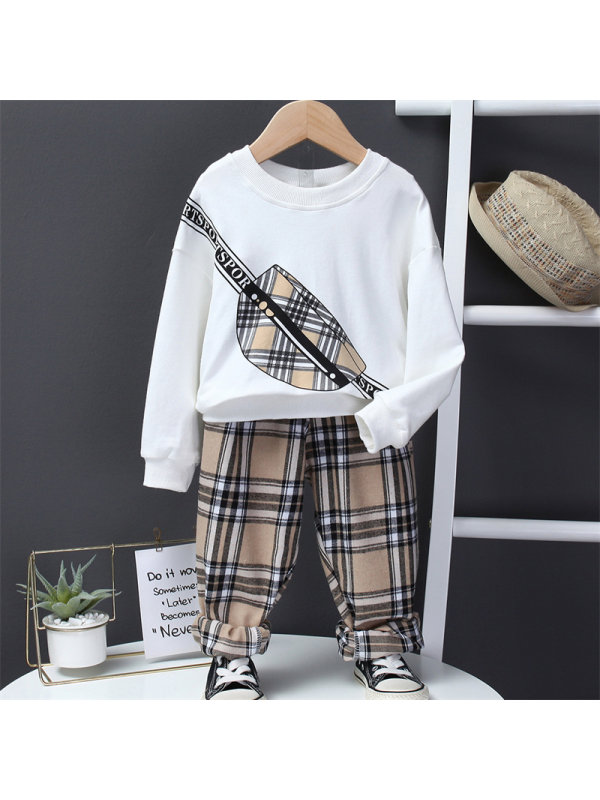 【2Y-7Y】Boy Checkered Small Backpack Long Sleeve Sweater And Pants Set