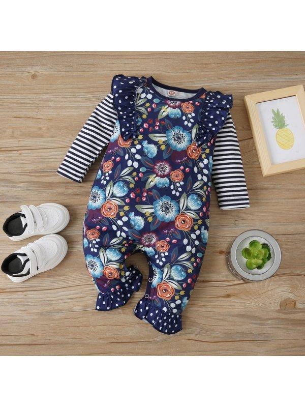 【3M-18M】Baby Flower Print Ruffled Polka Dot Striped Romper