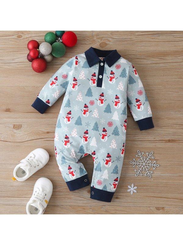 【3M-18M】Baby Boy Allover Christmas Snowman Romper