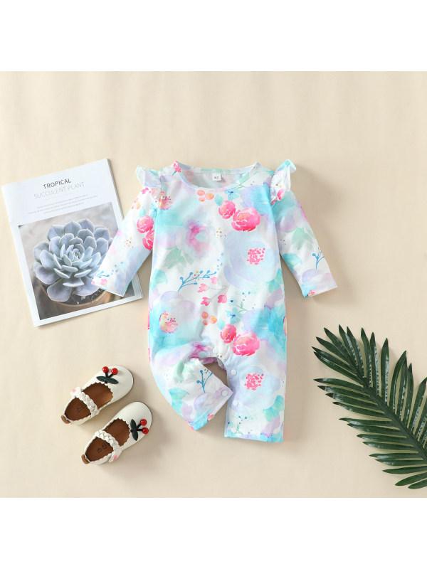 【0M-18M】Baby Girl Flowers Long-sleeved Romper