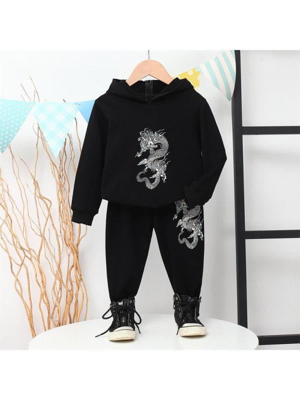 【2Y-7Y】Boys Dragon Print Long Sleeve Sweatshirt And Pants Set