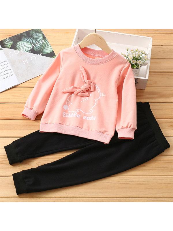 【2Y-7Y】Girls Bow Rabbit Print Long Sleeve Trousers Set