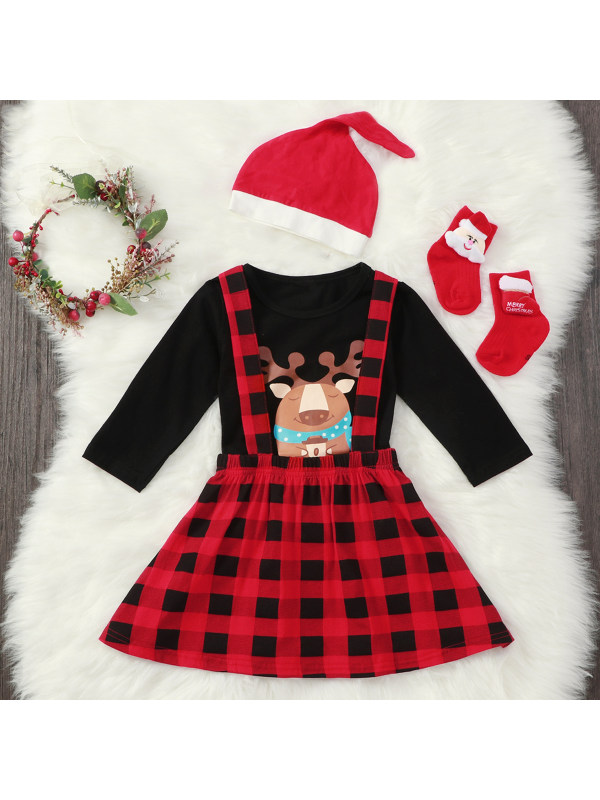 【12M-5Y】Girls Christmas Elk Long Sleeve T-shirt And Suspender Skirt Set