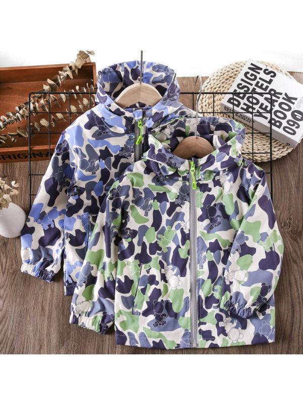 【3Y-13Y】Boys Camo Hooded Long Sleeve Jacket