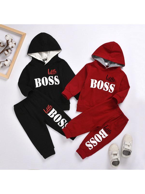 【12M-7Y】Boys Letter Print Hooded Long Sleeve Sweatshirt And Pants Set