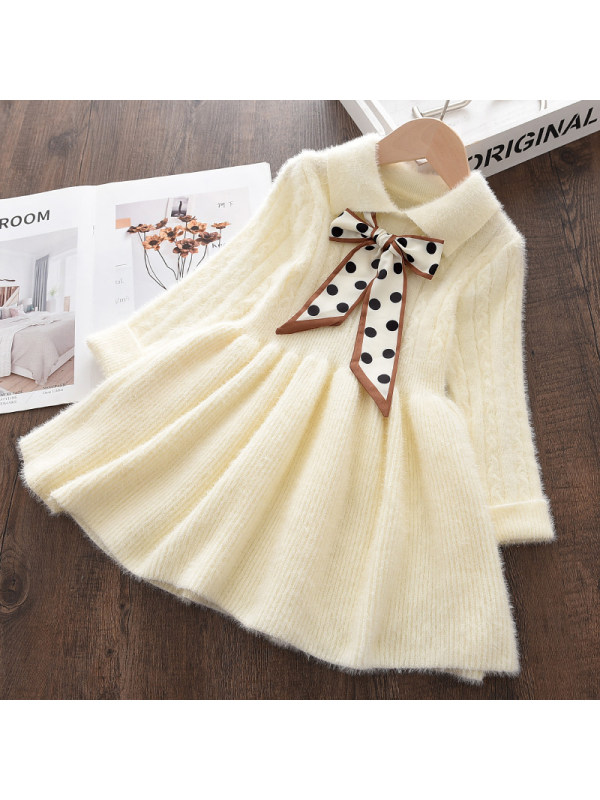 【18M-7Y】Girls Sweet Polka Dot Bowknot Pure Color Long Sleeve Dress