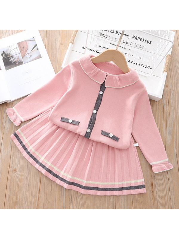 【12M-5Y】Girls Woolen Doll Collar Top With Pleated Skirt Two-piece Suit