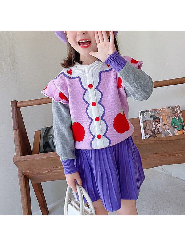 【18M-7Y】Girls Fruit Love Jacquard Contrast Color Long Sleeve Sweater Short Skirt Two Piece Set