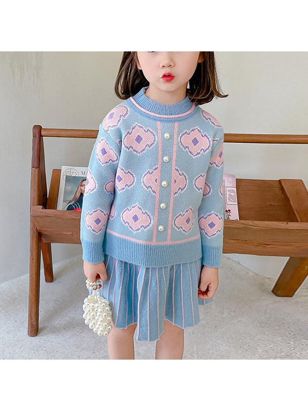 【18M-7Y】Girls Irregular Jacquard Sweater Short Skirt Two-piece Set