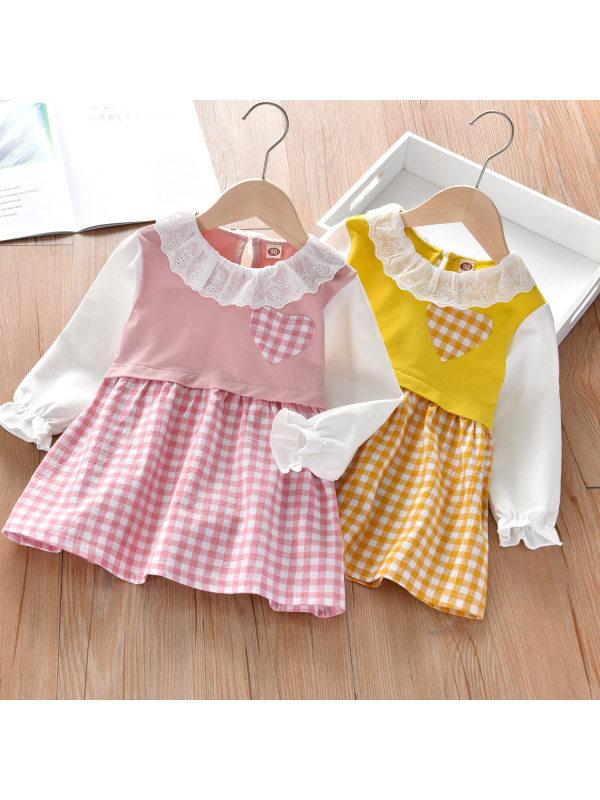 【18M-7Y】Girls Plaid Stitching Love Print Long-sleeved Dress