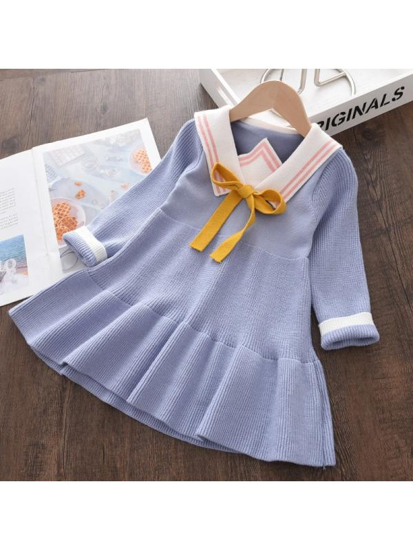 【18M-7Y】Girls Lapel Bow Embellished Knitted Long-sleeved Dress