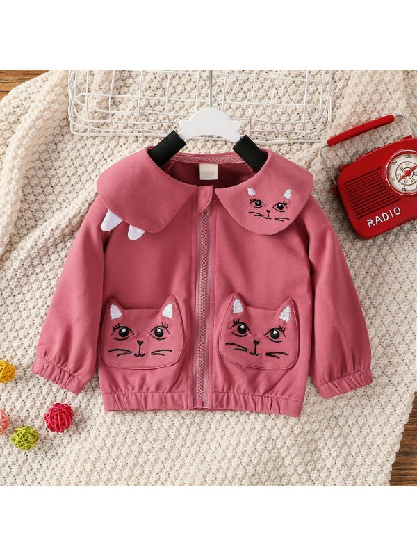 【3M-24M】Girls Cat Print Pocket Lapel Zip Jacket