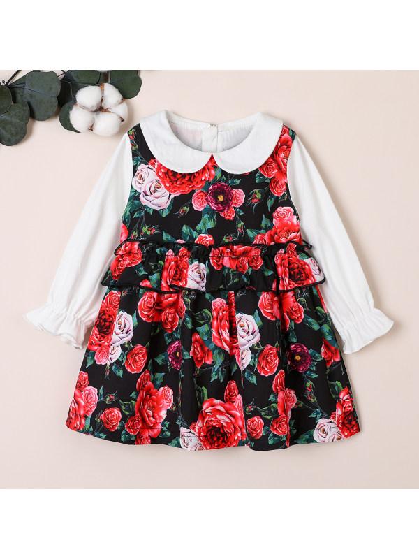 【18M-6Y】Girl Long Sleeve Dress Printe Dress