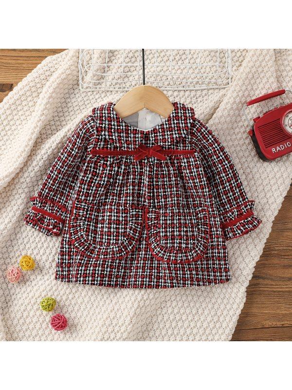 【0M-18M】Baby Girl Small Fragrant Lapel Plaid Dress