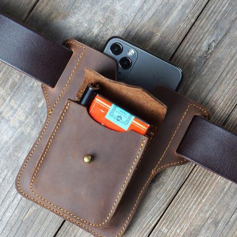 Men Genuine Leather EDC Multifunction Case Belt Sheath