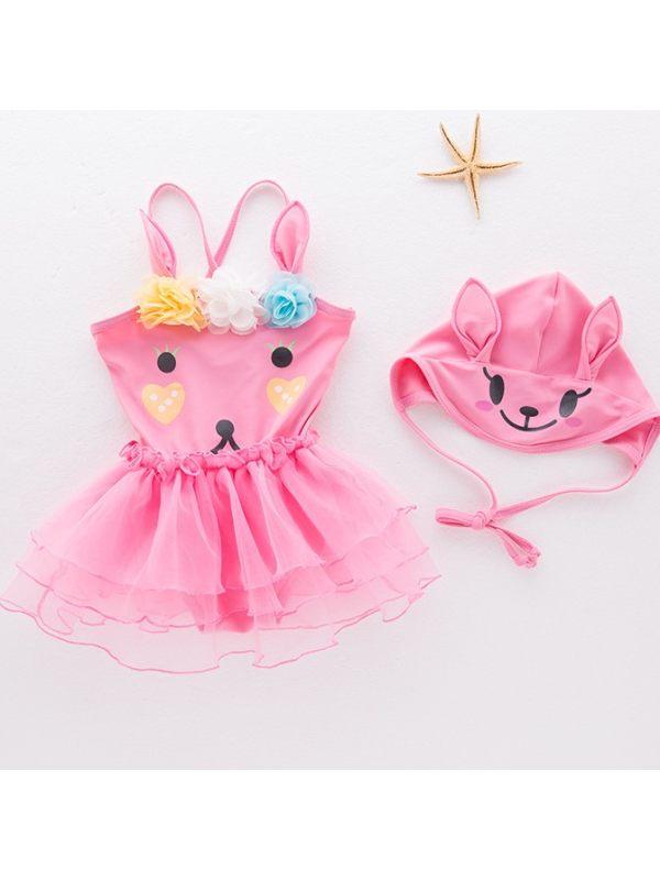 【12M-5Y】Girls Sweet Cute Cartoon Pattern One-piece Swimsuit