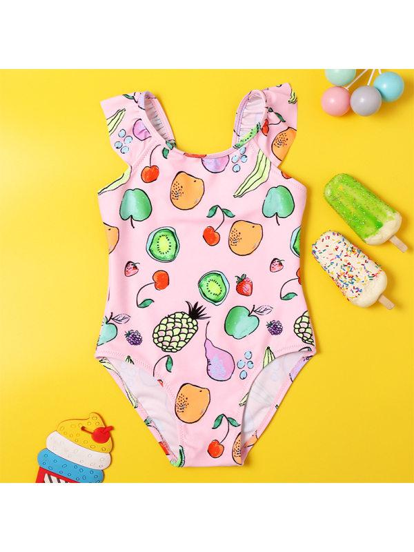 【18M-5Y】Girls Sweet Pink Fruit Pattern One-piece Swimsuit