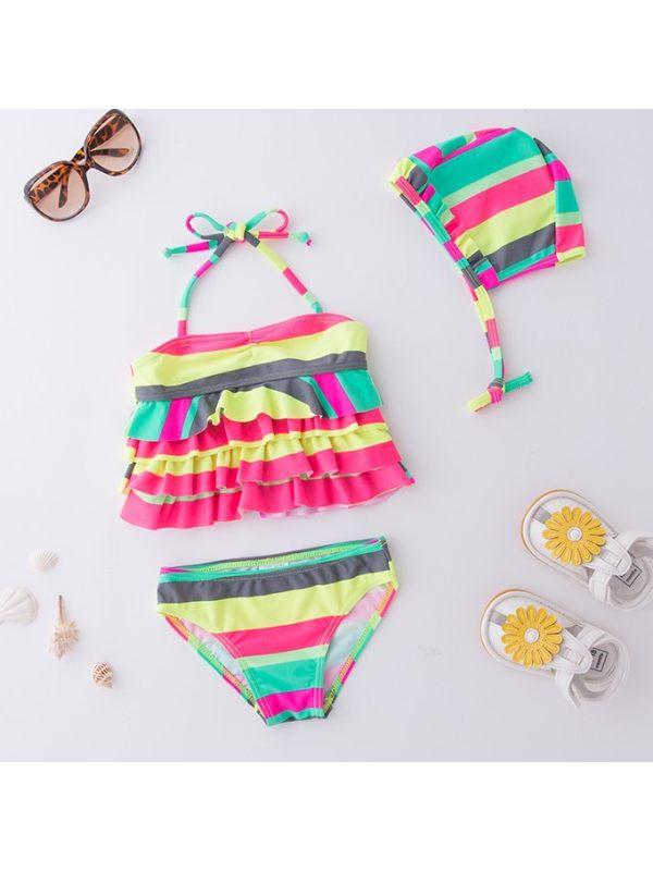 【2Y-7Y】Girls Cute Color Striped Split Bikini Swimsuit