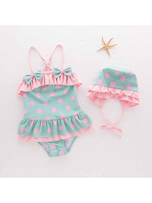 【18M-6Y】Girls Cute Bow Tie Polka Dot Lace One-piece Swimsuit