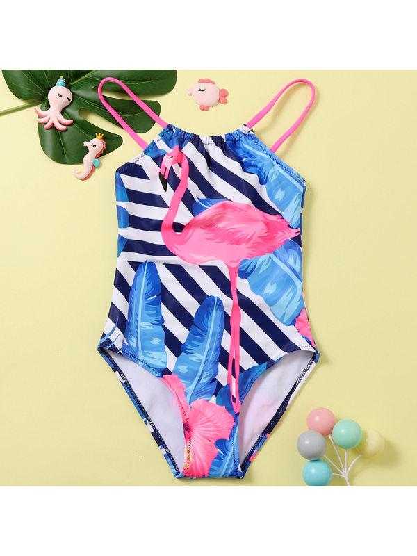 【18M-5Y】Girls Sweet Flamingo One-piece Swimsuit