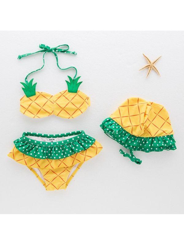 【12M-5Y】Girls Sweet Cute Pineapple Split Bikini Swimsuit
