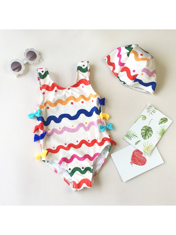 【18M-6Y】Girls Cute Bow Color Striped One-piece Swimsuit