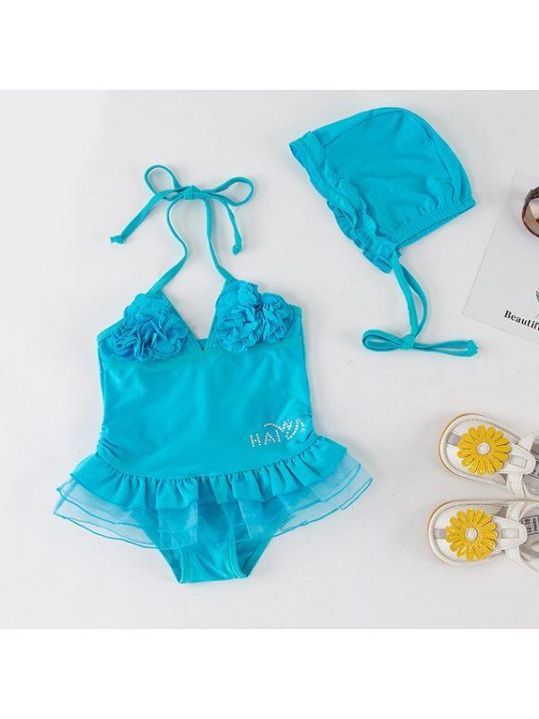 【12M-5Y】Girls Sweet Blue Flower Mesh Stitching One-piece Swimsuit